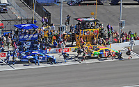 Mar 2, 2008; Las Vegas, NV, USA; NASCAR Sprint Cup Series drivers Kurt Busch (2) and brother Kyle Busch (18) pit during the UAW Dodge 400 at Las Vegas Motor Speedway. Mandatory Credit: Mark J. Rebilas-US PRESSWIRE