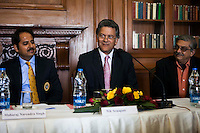 Maharaj Narendra Singh (Maharaj of Jaipur) (left) and Yunus Khimani (of the Jaipur Palace) listen as Nik Senapati (Rio Tinto Managing Director) (center) speaks during a press conference on Oz Fest in Raj Mahal Palace hotel, Jaipur, India on 10th January 2013. Photo by Suzanne Lee/DFAT