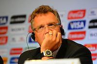 RIO DE JANEIRO, RJ, 30 AGOSTO 2012-FIFA-ENTREVISTA COLETIVA- O secretário-geral da FIFA, Jerome Valcke, na entrevista coletiva realizada pelo Comitê Organizador Local (COL) da Copa do Mundo da FIFA 2014, posterior à reunião de Diretoria do COL, no dia 30 de agosto de 2012, no Rio de Janeiro, no Hotel Windsor, na Barra da Tijuca, zona oeste do Rio de Janeiro.(FOTO:MARCELO FONSECA/BRAZIL PHOTO PRESS).