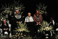 Native American leaders speak at the memorial service for boxing legend Muhammad Ali at the KFC Yum! Center in Louisville, Kentucky on June 10, 2016.  Ali was involved in the planning of the ceremony which included speeches from leaders of numerous faith as well as comedian Billy Crystal and former American President Bill Clinton.