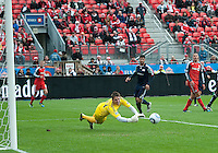 22 October 2011: New England Revolution goalkeeper Bobby Shuttleworth #34 in action during a game between the New England Revolution and Toronto FC at BMO Field in Toronto..The game ended in a 2-2 draw.