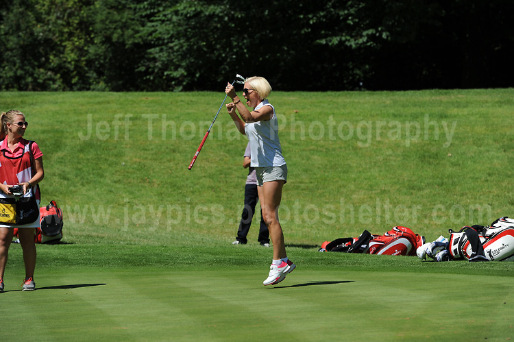 Actress and tv personality Denise Van Outen on the course and excited about an excellent put while on the green during The 2017 Celebrity Cup golf tournament at the Celtic Manor Resort, Newport, South Wales. 1.07.2017 <br /> <br /> <br /> Jeff Thomas Photography -  www.jaypics.photoshelter.com - <br /> e-mail swansea1001@hotmail.co.uk -<br /> Mob: 07837 386244 -
