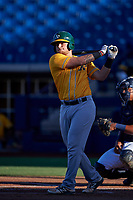 AZL Athletics Gold Matt Cross (6) takes a practice swing during an Arizona League game against the AZL Brewers Blue on July 2, 2019 at American Family Fields of Phoenix in Phoenix, Arizona. AZL Athletics Gold defeated the AZL Brewers Blue 11-8. (Zachary Lucy/Four Seam Images)