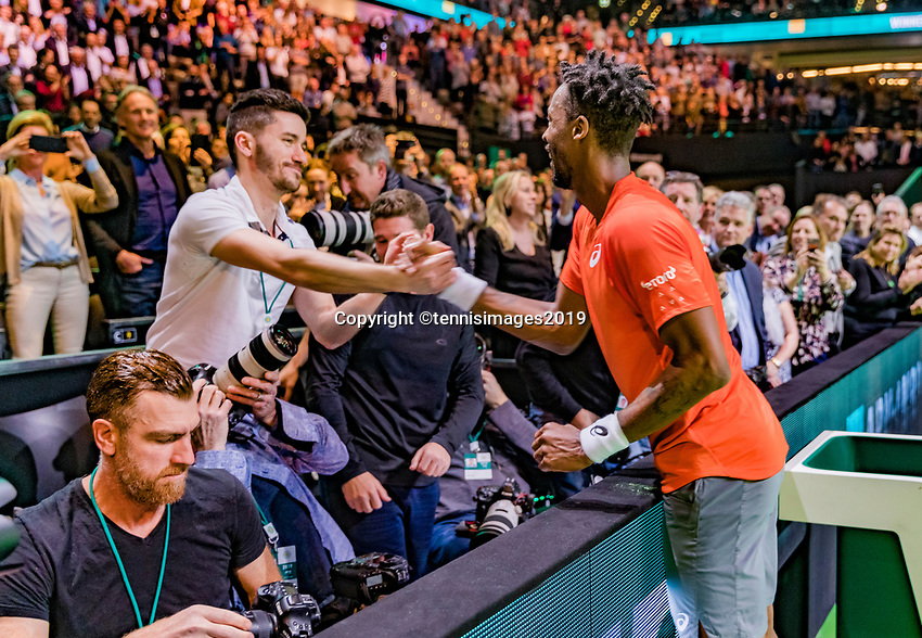 Rotterdam, The Netherlands, 17 Februari 2019, ABNAMRO World Tennis Tournament, Ahoy, Final, Gael Monfils (FRA) jumps in the coaches box after his win and celebrates with his coach<br /> Photo: www.tennisimages.com/Henk Koster