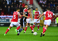 Lincoln City's Jordan Maguire-Drew looks to get between Rotherham United&rsquo;s Joe Mattock and Darren Potter<br /> <br /> Photographer Andrew Vaughan/CameraSport<br /> <br /> The Carabao Cup First Round - Rotherham United v Lincoln City - Tuesday 8th August 2017 - New York Stadium - Rotherham<br />  <br /> World Copyright &copy; 2017 CameraSport. All rights reserved. 43 Linden Ave. Countesthorpe. Leicester. England. LE8 5PG - Tel: +44 (0) 116 277 4147 - admin@camerasport.com - www.camerasport.com
