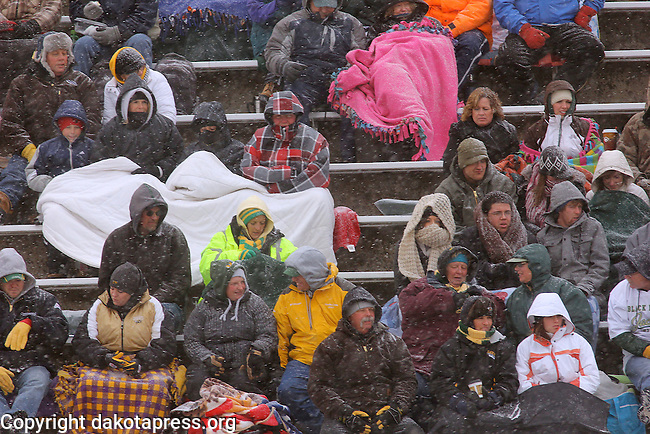 SPEARFISH, SD - NOVEMBER  10, 2012:  Fans at Lyle Hare Stadium were bundled up for the blustery winter weather Saturday as Black Hills State battled Ft. Lewis College in Rocky Mountain Athletic Conference football action. (Photo by Richard Carlson/dakotapress.org)