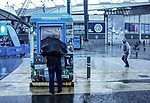 A Manchester City supporter in the torrential rain during the premier league match at the Etihad Stadium, Manchester. Picture date 9th September 2017. Picture credit should read: David Klein/Sportimage