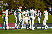 England celebrates the wicket of Jeet Raval of the Black Caps during the final day of the Second International Cricket Test match, New Zealand V England, Hagley Oval, Christchurch, New Zealand, 3rd April 2018.Copyright photo: John Davidson / www.photosport.nz