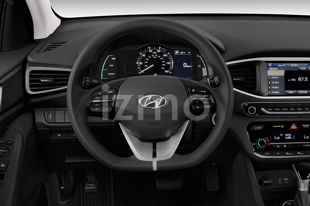Car pictures of steering wheel view of a 2018 Hyundai Ioniq Hybrid Blue 5 Door Hatchback
