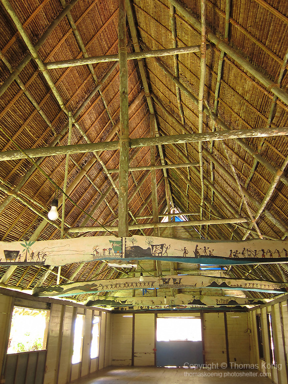 Palau, Micronesia -- The interior of a 'Bai', a traditional Palauan meeting house.<br />