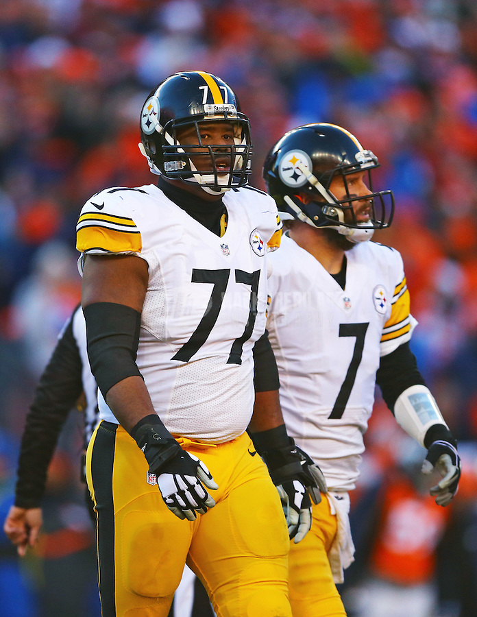 Jan 17, 2016; Denver, CO, USA; Pittsburgh Steelers offensive tackle Marcus Gilbert (77) and quarterback Ben Roethlisberger (7) against the Denver Broncos during the AFC Divisional round playoff game at Sports Authority Field at Mile High. Mandatory Credit: Mark J. Rebilas-USA TODAY Sports