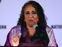 Washington, DC - January 16, 2017: Entrepreneur Cathy Hughes, founder of the Radio One network, speaks to attendees of the annual Martin Luther King Holiday Breakfast, sponsored by the National Action Network, at the Mayflower Hotel in the District of Columbia, January 16, 2017.  (Photo by Don Baxter/Media Images International)