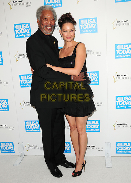 MORGAN FREEMAN & ASHLEY JUDD .at The 4th annual USA TODAY Hollywood Hero Award Gala honoring Ashley Judd held at The Montage Beverly Hills in Beverly Hills, California, USA, November 10th 2009.                                                                  full length hugging embracing black dress suit beard facial hair peep toe shoes tiered .CAP/RKE/DVS.©DVS/RockinExposures/Capital Pictures.
