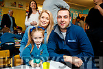 Riah and Joanne Lynch with Martin Bowler, Tralee, pictured on their first day of school at Scoil Eoin, Balloonagh, Tralee on Wednesday morning last.