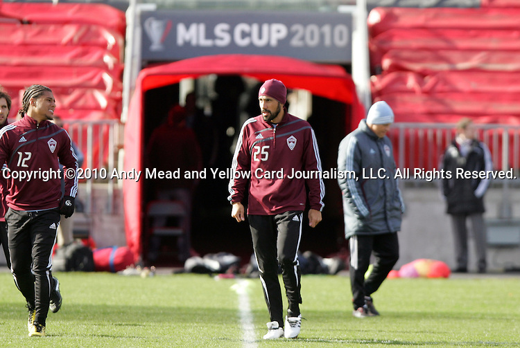 20 November 2010: Pablo Mastroeni (25) and Quincy Amarikwa (12). Colorado Rapids held a practice at BMO Field in Toronto, Ontario, Canada as part of their preparations for MLS Cup 2010, Major League Soccer's championship game.