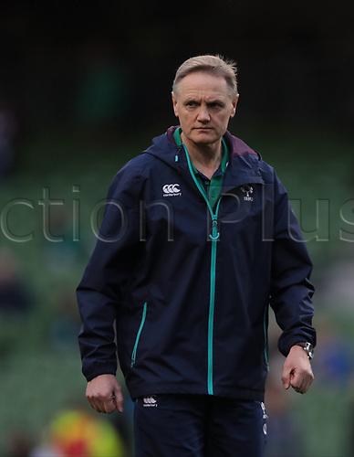 March 18th 2017, Aviva Stadium, Dublin, Ireland; 6 Nations Mens international rugby union, Ireland versus England; Ireland head coach Joe Schmidt during warm-up