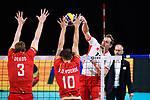 13.09.2019, Paleis 12, BrŸssel / Bruessel<br />Volleyball, Europameisterschaft, Belgien (BEL) vs. …sterreich / Oesterreich (AUT)<br /><br />Block / Doppelblock Sam Deroo (#3 BEL), Simon van de Voorde (#10 BEL) - Angriff Alexander Berger (#12 AUT)<br /><br />  Foto © nordphoto / Kurth