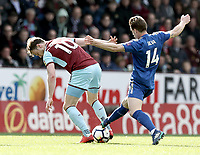 Burnley's Ashley Barnes is tackled by Leicester City's Adrien Silva<br /> <br /> Photographer Rich Linley/CameraSport<br /> <br /> The Premier League - Burnley v Leicester City - Saturday 14th April 2018 - Turf Moor - Burnley<br /> <br /> World Copyright &copy; 2018 CameraSport. All rights reserved. 43 Linden Ave. Countesthorpe. Leicester. England. LE8 5PG - Tel: +44 (0) 116 277 4147 - admin@camerasport.com - www.camerasport.com