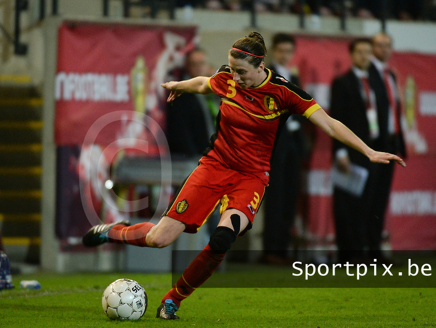 20140410 - LEUVEN , BELGIUM : Belgian Heleen Jaques pictured during the female soccer match between Belgium and Norway, on the seventh matchday in group 5 of the UEFA qualifying round to the FIFA Women World Cup in Canada 2015 at Stadion Den Dreef , Leuven . Thursday 10th April 2014 . PHOTO DAVID CATRY