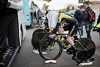 (eventual winner) Simon Yates (GBR/Mitchelton-Scott) warming up (incognito) for Stage 5 (ITT): Barbentane to Barbentane (25km)<br /> 77th Paris - Nice 2019 (2.UWT)<br /> <br /> ©kramon