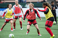 Seattle, Washington - Saturday May 14, 2016:  Portland Thorns FC defender Emily Sonnett (16) during warmups at Memorial Stadium on Saturday May 14, 2016 in Seattle, Washington. The match ended in a 1-1 draw