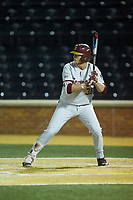 Rhett Aplin (38) of the Florida State Seminoles at bat against the Wake Forest Demon Deacons at David F. Couch Ballpark on March 9, 2018 in  Winston-Salem, North Carolina.  The Seminoles defeated the Demon Deacons 7-3.  (Brian Westerholt/Four Seam Images)