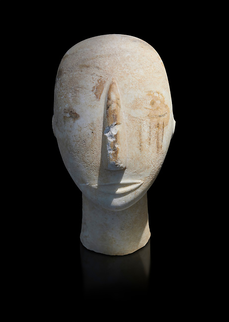 Head of a Cycladic statue with remnants of painted eyes and right cheek, Parian Marble, Amorgos, Early Cycladic II period (2800-3200BC). National Archaeological Museum, Athens. Black background.
