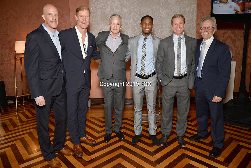New York City, NY - MAY 23: (L-R) Grant Wahl, Correspondent-at-Large, Alexi Lalas, Studio Analyst, David Neal, Exectuive Producer, FIFA World Cup on Fox Sports, Aaron West, FIFA WWC NOW Host, Rob Stone, Lead Studio Analyst and JP Dellacamera, Lead WWC Paly-by-Play Announcer attend the Fox Sports FIFA Women's World Cup Send-off at the Consulate General of France in New York City. (Photo by Anthony Behar/Fox Sports/PictureGroup)