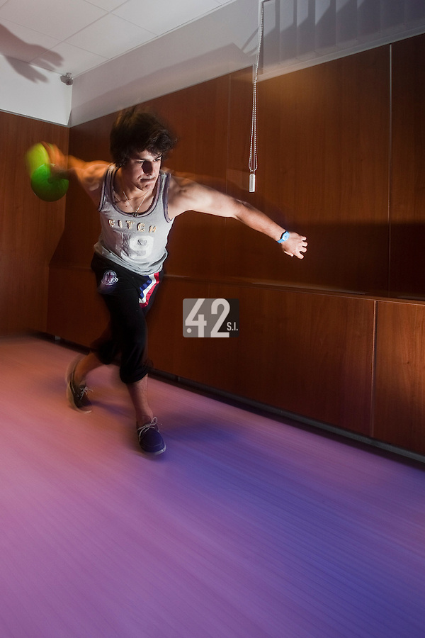 01 June 2010: Maxime Lefevre of Rouen playing bowling the day before the start of the 2010 Baseball European Cup in Brno, Czech Republic.