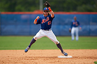 GCL Mets second baseman Nick Conti (27) during a Gulf Coast League game against the GCL Marlins on August 11, 2019 at St. Lucie Sports Complex in St. Lucie, Florida.  GCL Marlins defeated the GCL Mets 3-2 in the second game of a doubleheader.  (Mike Janes/Four Seam Images)