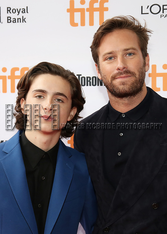 Timothee Chalamet and Armie Hammer attend the 'Call Me By Your Name' premiere during the 2017 Toronto International Film Festival at Ryerson Theatre on September 7, 2017 in Toronto, Canada.
