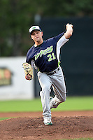 Vermont Lake Monsters pitcher Jerad Grundy (21) delivers a warmup pitch during a game against the Jamestown Jammers on July 12, 2014 at Russell Diethrick Park in Jamestown, New York.  Jamestown defeated Vermont 3-2.  (Mike Janes/Four Seam Images)