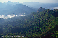 Serrania de Bala and gorge of Rio Beni (center) near border of Madidi National Park, above town of Rurrenabaque, lowland tropical rainforest, Bolivia.