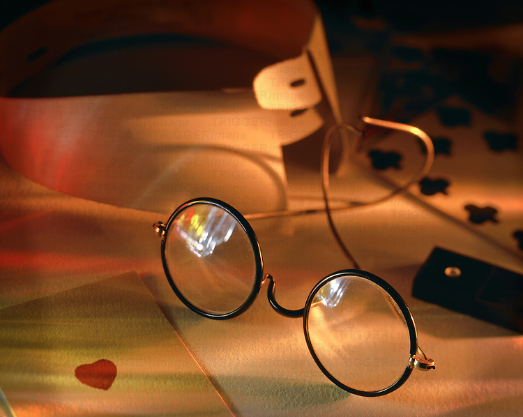 A pair of old fashioned round glasses