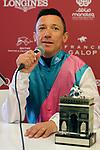October 07, 2018, Longchamp, FRANCE - Frankie Dettori at the Press Conference after winning the Qatar Prix de l'Arc de Triomphe (Gr. I) at  ParisLongchamp Race Course  [Copyright (c) Sandra Scherning/Eclipse Sportswire)]