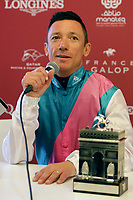 October 07, 2018, Longchamp, FRANCE - Frankie Dettori at the Press Conference after winning the Qatar Prix de l'Arc de Triomphe (Gr. I) at  ParisLongchamp Race Course  [Copyright (c) Sandra Scherning/Eclipse Sportswire)]