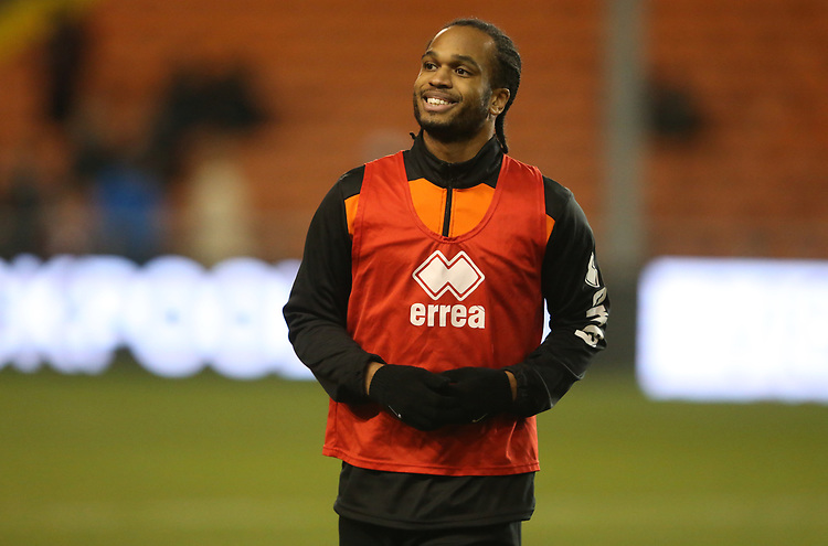 Blackpool's Nathan Delfouneso during the pre-match warm-up <br /> <br /> Photographer Stephen White/CameraSport<br /> <br /> Emirates FA Cup Third Round - Blackpool v Arsenal - Saturday 5th January 2019 - Bloomfield Road - Blackpool<br />  <br /> World Copyright © 2019 CameraSport. All rights reserved. 43 Linden Ave. Countesthorpe. Leicester. England. LE8 5PG - Tel: +44 (0) 116 277 4147 - admin@camerasport.com - www.camerasport.com