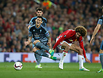 Marouane Fellainiof Manchester United tackles Pablo Hernandez of Celta Vigo during the Europa League Semi Final 2nd Leg match at Old Trafford Stadium, Manchester. Picture date: May 11th 2017. Pic credit should read: Simon Bellis/Sportimage