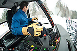 A young man pilots a Bombardier groomer at Jackson Hole Mountain Resort in Jackson Hole, Wyoming.