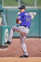 Albuquerque Isotopes starting pitcher Chi Chi Gonzalez (24) throws before the game against the Salt Lake Bees at Smith's Ballpark on April 27, 2019 in Salt Lake City, Utah. The Isotopes defeated the Bees 10-7. This was a makeup game from April 26, 2019 that was cancelled due to rain. (Stephen Smith/Four Seam Images)