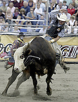"29 Aug 2004:  PRCA Rodeo Bull Rider Zeb Lanham ranked 24th in the world riding the bull ""Good Show"" during the PRCA 2004 Extreme Bulls competition in Bremerton, WA."