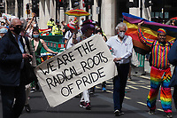 London, UK - 27 June 2020.<br /> Gay Liberation Front veterans march through the capital to mark the London Gay Liberation Front's 50th anniversary.  The march was only open to Gay Liberation Front veterans to ensure it complies with social distancing regulations.<br /> CAP/JOR<br /> ©JOR/Capital Pictures