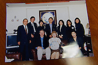 A photo of Harry Hogan (seated centre left) and his mother Valerie visiting members of the Taketsuru family in Japan in 1998. Rita and Masataka's adopted son, Takeshi, is far left. East Kilbride, Glasgow, UK, June 24, 2014. Rita Taketsuru was the Scottish wife of the founder of Nikka Whisky, Masataka Taketsuru. She was born in Kirkintilloch, near Glasgow, Scotland.