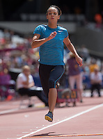 Katrina JOHNSON-THOMPSON of GBR warms up for the Long Jump during the Sainsburys Anniversary Games at the Olympic Park, London, England on 25 July 2015. Photo by Andy Rowland.