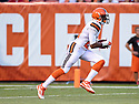 CLEVELAND, OH - AUGUST 18, 2016: Cornerback Justin Gilbert #21 of the Cleveland Browns returns a kickoff in the first quarter of a preseason game on August 18, 2016 against the Atlanta Falcons at FirstEnergy Stadium in Cleveland, Ohio. Atlanta won 24-13. (Photo by: 2016 Nick Cammett/Diamond Images) *** Local Caption *** Justin Gilbert