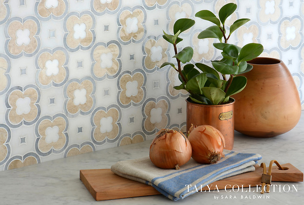 Damascus, a stone waterjet mosaic shown in Afyon White honed, Snow White polished, Allure polished and Diana Royal polished, is part of the Talya Collection by Sara Baldwin for Marble Systems.