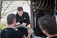 André Greipel (DEU/Lotto-Soudal) personally checking his bike & tires to be race-ready<br /> <br /> Team Lotto-Soudal final prep for Paris-Roubaix 2017 1 day before the race
