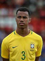 Gabriel of Brazil during the International match between England U20 and Brazil U20 at the Aggborough Stadium, Kidderminster, England on 4 September 2016. Photo by Andy Rowland / PRiME Media Images.