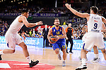 Real Madrid's Gustavo Ayon and Felipe Reyes and Maccabi Fox's Yogev Ohayon during Turkish Airlines Euroleague match between Real Madrid and Maccabi at Wizink Center in Madrid, Spain. January 13, 2017. (ALTERPHOTOS/BorjaB.Hojas)