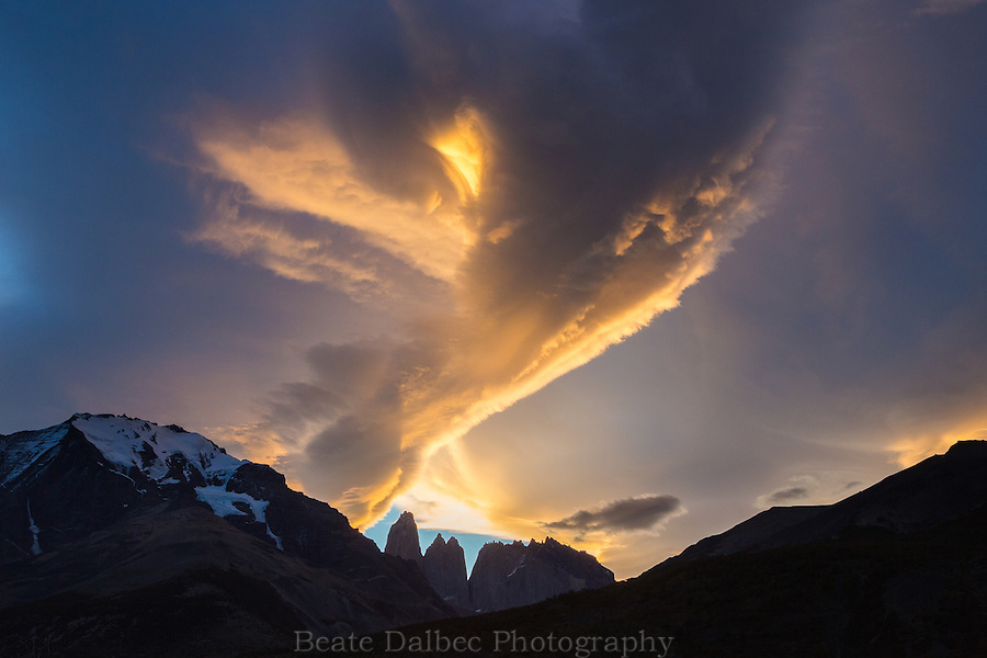 dramatic cloud at sunset over the Torres del Paine, Patagonia, Chile